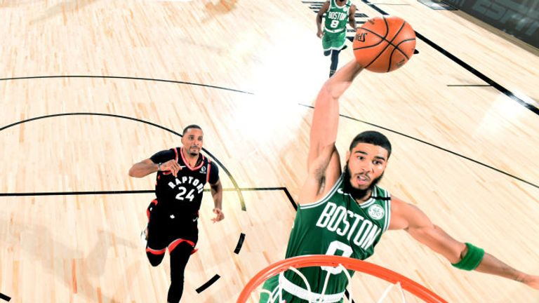 Jayson Tatum of the Boston Celtics dunks the ball against the Toronto Raptors during Round Two, Game Six of the Eastern Conference Semifinals