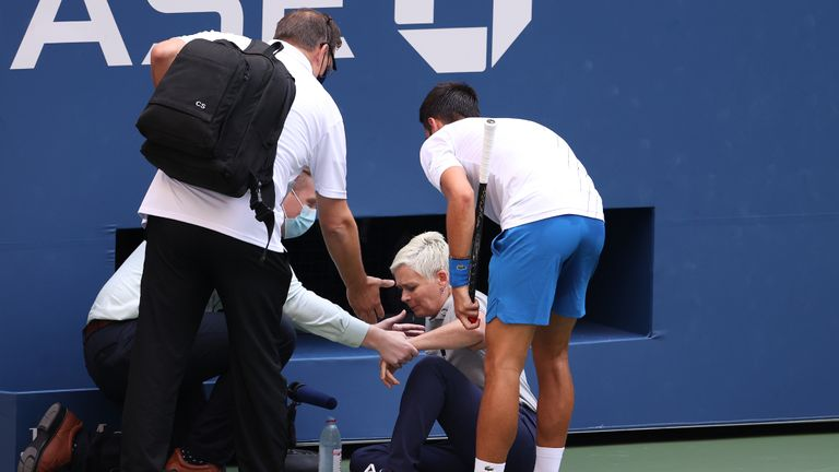 Djokovic was defaulted after he inadvertently struck a female line judge with a ball at the US Open
