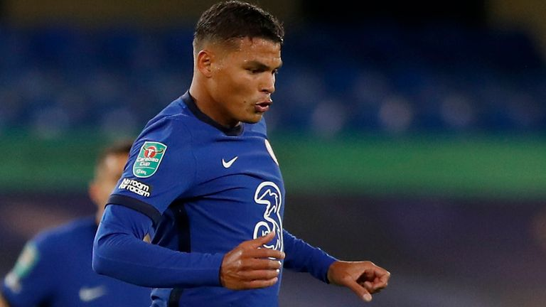 Thiago Silva made his Chelsea debut in the Carabao Cup against Barnsley