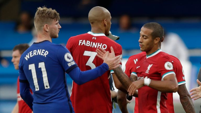 Thiago Alcantara was penalised for tripping Chelsea striker Timo Werner in the penalty area