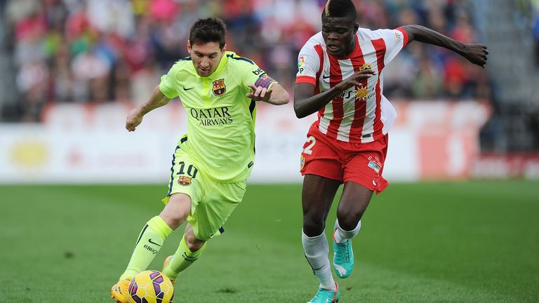 Partey in action for Almeria with Barcelona's Lionel Messi