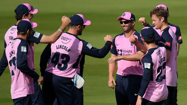 Tom Helm held his nerve to bowl Middlesex to victory over Kent