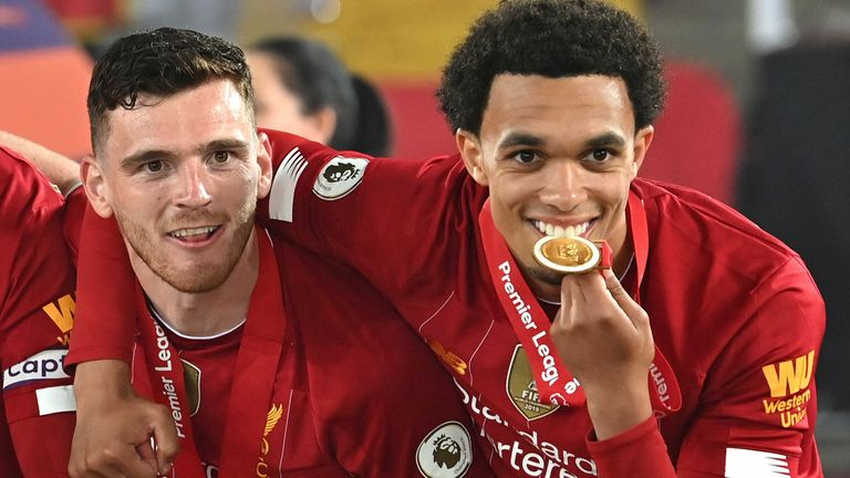 Trent Alexander-Arnold with his Premier League winners' medal