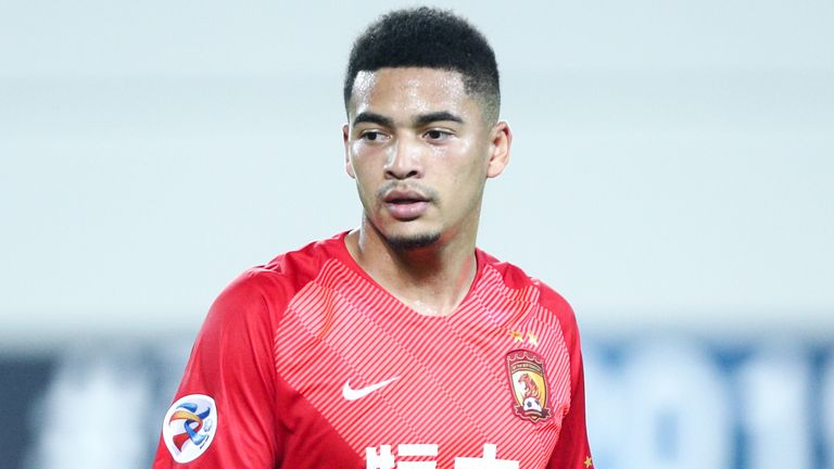 Tyias Browning of Guangzhou Evergrande looks on during the AFC Champions League Group F match between Guangzhou Evergrande vs Melbourne Victory on April 10, 2019 in Guangzhou, China.