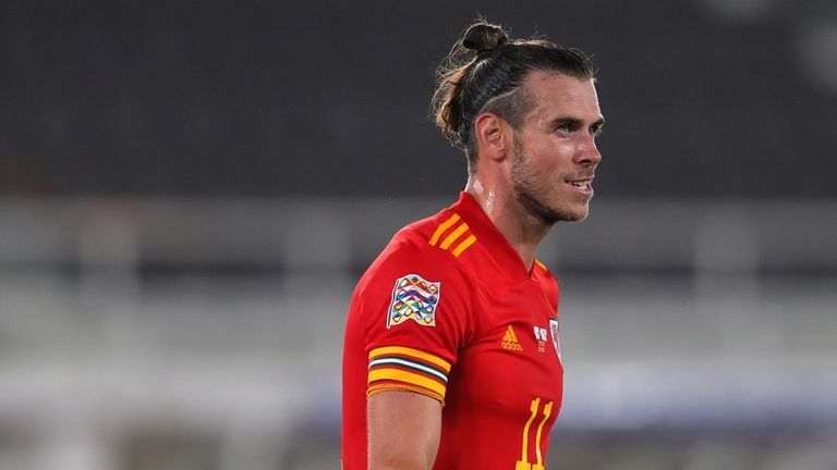Gareth Bale of Wales looks on during the UEFA Nations League group stage match between Finland and Wales at Helsingin Olympiastadion on September 03, 2020 in Helsinki, Finland.