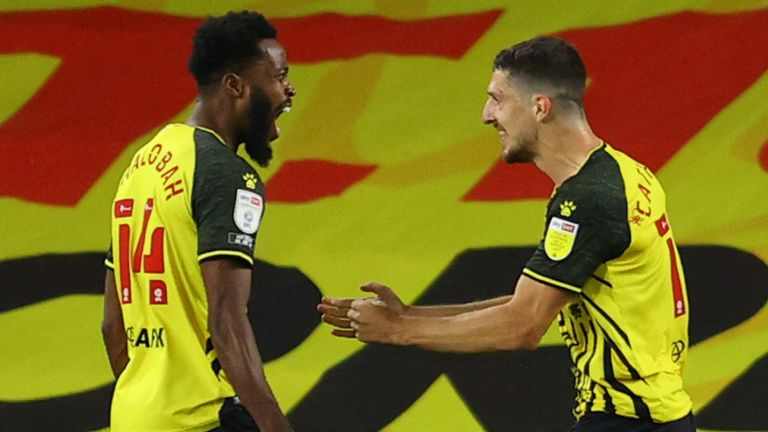 Craig Cathcart celebrates after putting Watford ahead against Middlesbrough
