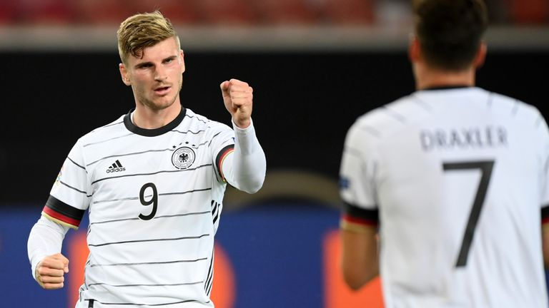 Timo Werner celebrates his goal against Spain