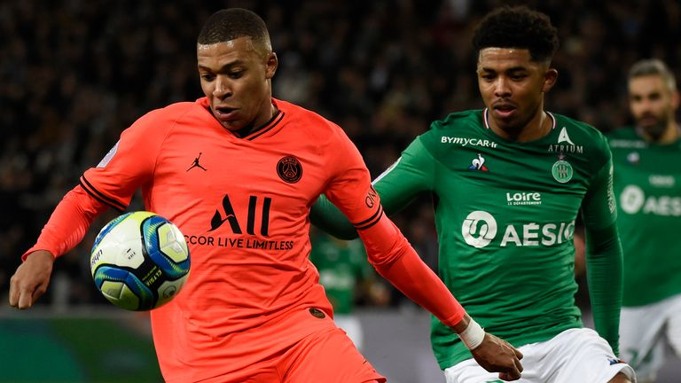 Wesley Fofana (right) in action against Kylian Mbappe in St Etienne's Ligue 1 fixture against PSG