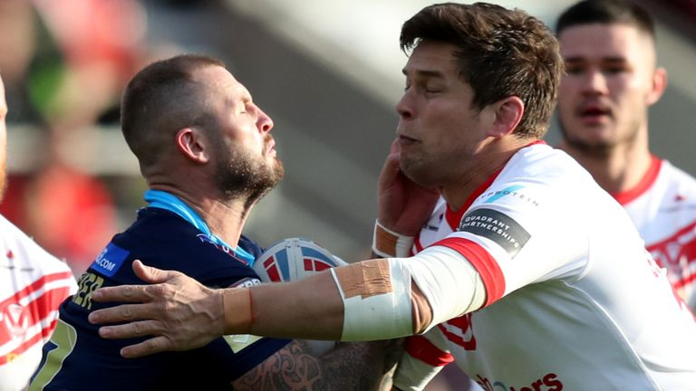 Picture by Paul Currie/SWpix.com - 12/07/2019 - Rugby League - Betfred Super League - St Helens v Wigan Warriors - The Totally Wicked Stadium, Langtree Park, St Helens, England - Zak Hardaker of Wigan Warriors and St Helens' Louie McCarthy-Scarsbrook