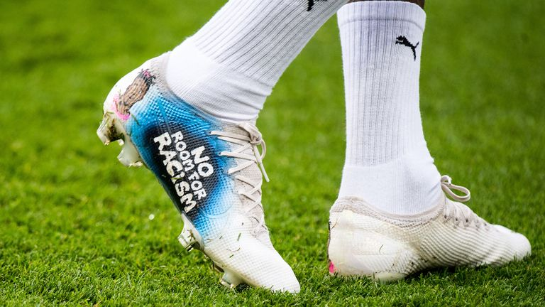 Wilfried Zaha wears boots bearing 'No Room For Racism' messaging