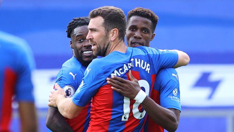 Wilfried Zaha celebrates after putting Crystal Palace ahead