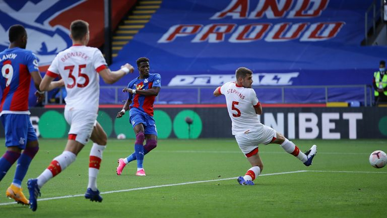 Wilfried Zaha volleys Crystal Palace ahead after 13 minutes on Saturday