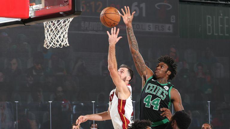 Robert Williams III blocks for the Boston Celtics