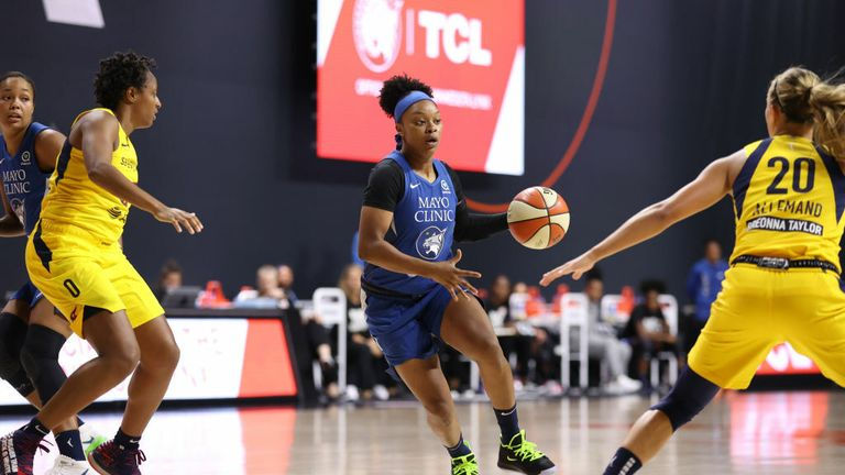 Odyssey Sims #1 of the Minnesota Lynx drives to the basket against the Indiana Fever on September 12, 2020 at Feld Entertainment Center in Palmetto, Florida.