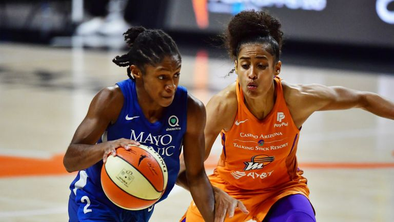Crystal Dangerfield #2 of the Minnesota Lynx drives to the basket guarded by Skylar Diggins-Smith #4 of the Phoenix Mercury in the second half of Game One of their Second Round playoff at Feld Entertainment Center on September 17, 2020 in Palmetto, Florida.