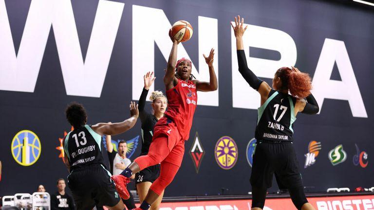 Myisha Hines-Allen #2 of the Washington Mystics shoots the ball against the New York Liberty on September 12, 2020 at Feld Entertainment Center in Palmetto, Florida.
