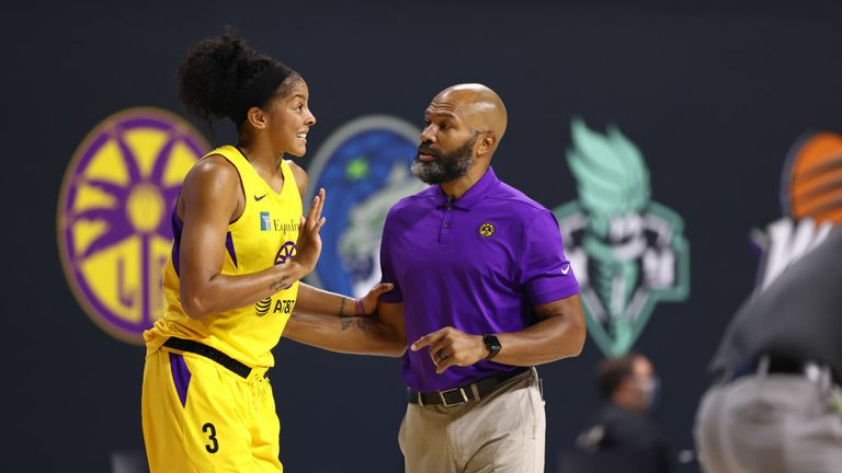 Head Coach Derek Fisher and Candace Parker #3 of the Los Angeles Sparks talk during the game against the Minnesota Lynx on August 9, 2020 at Feld Entertainment Center in Palmetto, Florida.
