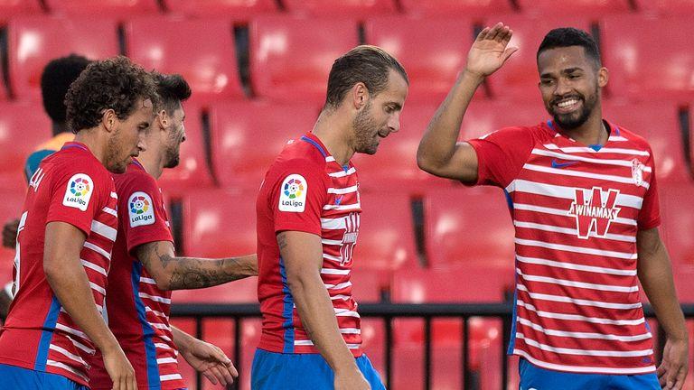 Yangel Herrera celebrates his goal in Granada's win over Athletic Bilbao