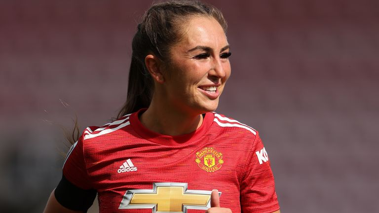 Manchester United's Katie Zelem was one of seven players to earn their first senior England call-up for the training camp