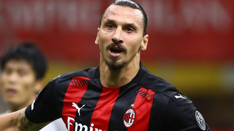 Zlatan Ibrahimovic during the Serie A match between AC Milan and Bologna FC at Stadio Giuseppe Meazza on September 21, 2020 in Milan, Italy.
