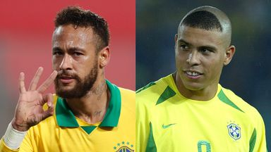 Neymar has overtaken Ronaldo to sit second in Brazil's all-time top goalscorer rankings, and needs 13 more to surpass Pele