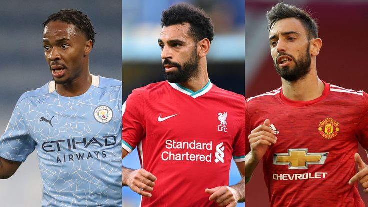 Raheem Sterling, Mohamed Salah and Bruno Fernandes