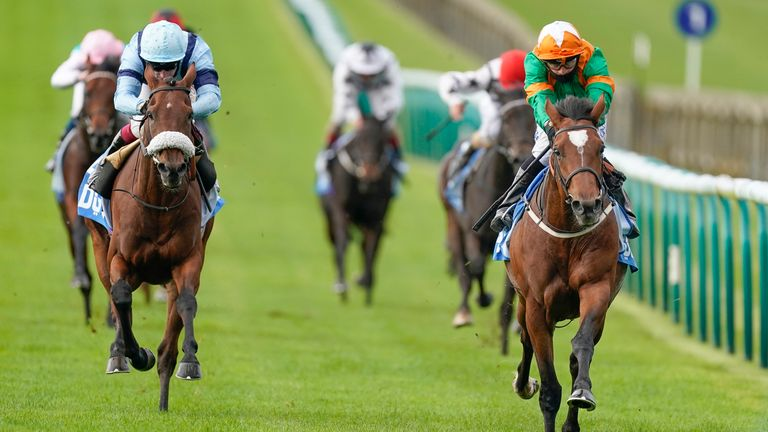 NEWMARKET, ENGLAND - OCTOBER 10: Silvestre De Sousa riding Lone Eagle (green) win The Godolphin Flying Start Zetland Stakes at Newmarket Racecourse on October 10, 2020 in Newmarket, England. Owners are allowed to attend if they have a runner at the meeting otherwise racing remains behind closed doors to the public due to the Coronavirus pandemic. (Photo by Alan Crowhurst/Getty Images)