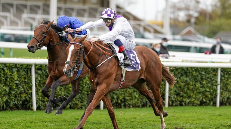 Kevin Manning riding Mac Swiney win The Vertem Futurity Trophy Stakes at Doncaster