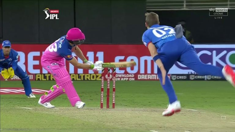Delhi Capitals' Anrich Nortje bowled the fastest ball in IPL history - 97mph - but Jos Buttler ramped it for four, only to be castled by the South African next ball!