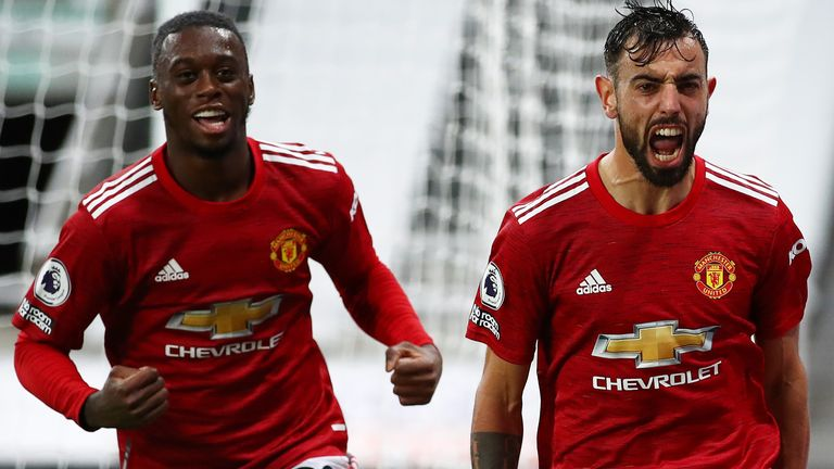 Aaron Wan-Bissaka and Bruno Fernandes celebrate the latter's goal at Newcastle