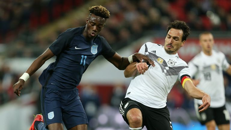 Tammy Abraham made his senior England debut in a friendly against Germany in 2017