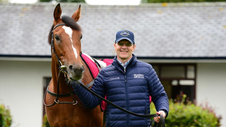 Trainer Aidan O'Brien with Japan at Ballydoyle Stables