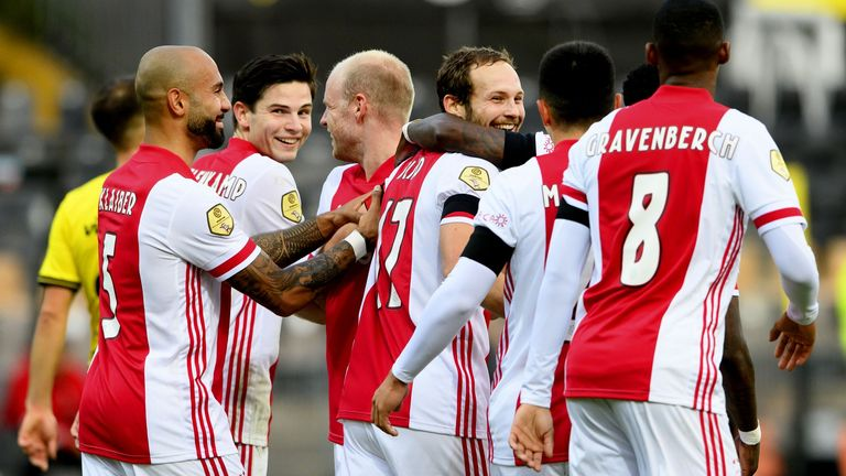 Ajax are all smiles after Dailey Blind's goal - their eighth