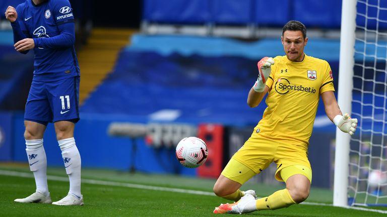 Alex McCarthy makes a save at Stamford Bridge