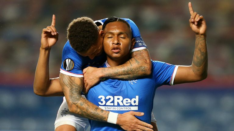 GLASGOW, SCOTLAND - OCTOBER 29: Alfredo Morelos of Rangers celebrates after scoring his team's first goal during the UEFA Europa League Group D stage match between Rangers and Lech Poznan at Ibrox Stadium on October 29, 2020 in Glasgow, Scotland.