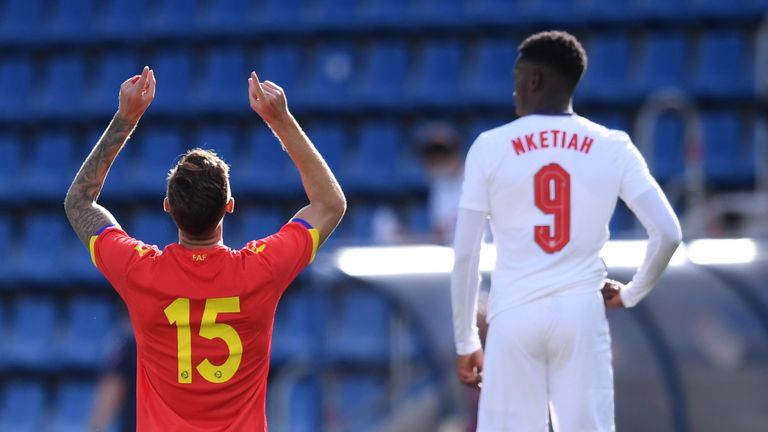 Christian Garcia's last-minute equaliser cancelled out Eddie Nketiah's goal as Andorra U21s earned a historic draw with England U21s