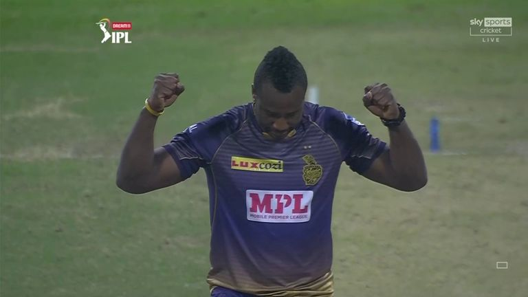 Andre Russell dismissed Sam Curran as KKR moved up to third in the IPL table