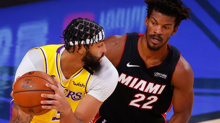 Jimmy Butler guards Anthony Davis during Game 1 of the NBA Finals