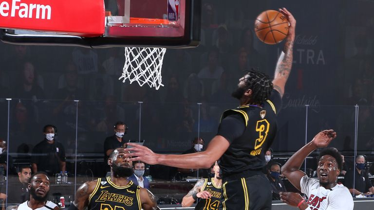 Anthony Davis of the Los Angeles Lakers dunks the ball against the Miami Heat during Game Five of the NBA Finals