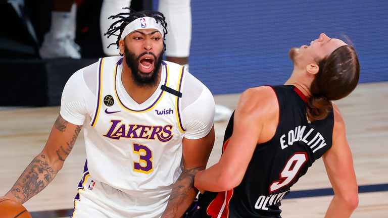 Anthony Davis is called for an offensive foul on Kelly Olynyk in Game 3 of the NBA Finals