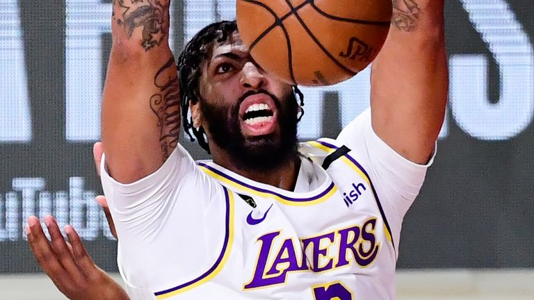 Anthony Davis powers home a two-handed dunk in Game 6 of the NBA Finals