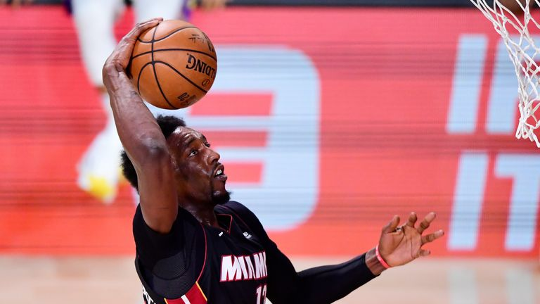 Bam Adebayo scores 25 points against the Lakers in game 6 of the NBA finals.