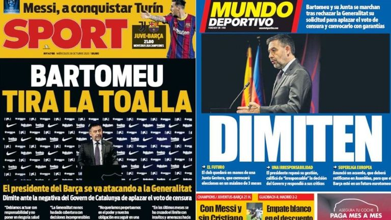 Spanish publication Sport lead with 'Bartomeu throws in the towel' with 'Resigned' on the front page of Mundo Deportivo