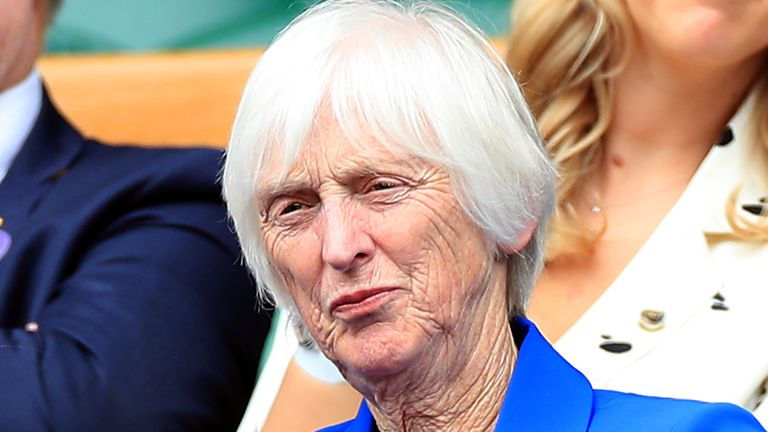 Baroness Sue Campbell, The Director of Women's Football at The FA, in the royal box of centre court at the Wimbledon Championships