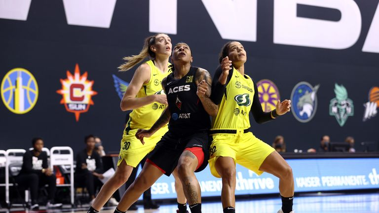 Highlights of Game 2 of the WNBA Finals between the Seattle Storm and the Las Vegas Aces.