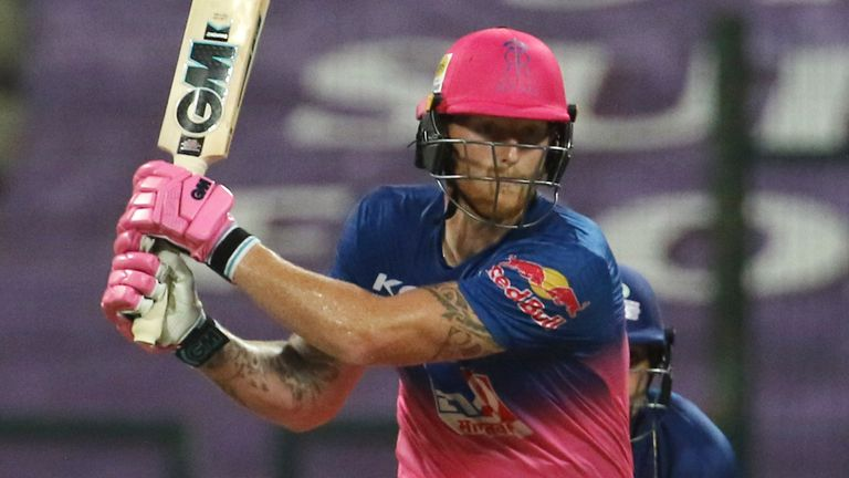 Ben Stokes of Rajasthan Royals plays a shot during match 45 of season 13 of the Dream 11 Indian Premier League (IPL) between the Rajasthan Royals and the Mumbai Indians at the Sheikh Zayed Stadium, Abu Dhabi  in the United Arab Emirates on the 25th October 2020.  Photo by: Vipin Pawar  / Sportzpics for BCCI