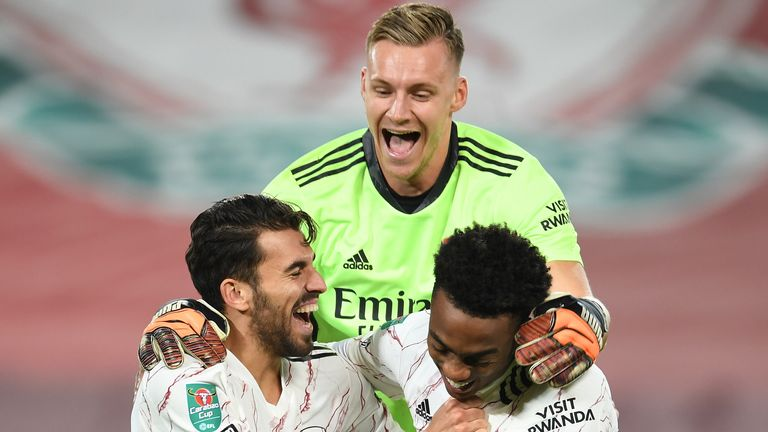 Bernd Leno celebrates after Arsenal's Carabao Cup win on penalties
