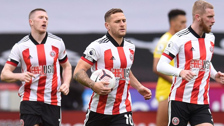 Billy Sharp celebrates scoring for Sheffield United vs Fulham