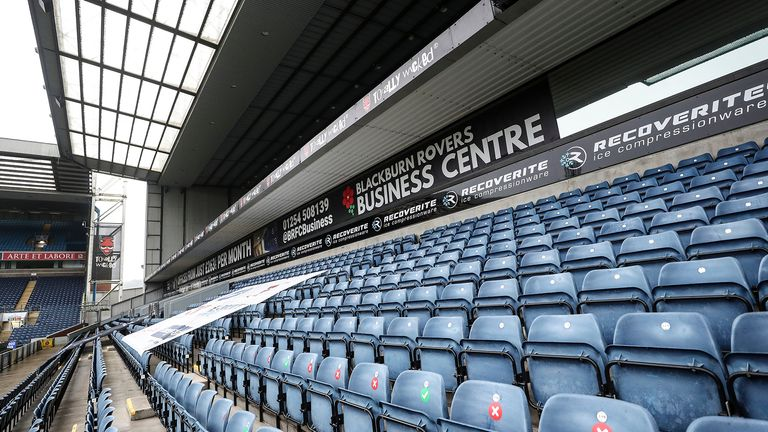 A general View of Ewood Park home of Blackburn Rovers before the Sky Bet Championship match between Blackburn Rovers and Cardiff City at Ewood Park on October 3, 2020 in Blackburn, England