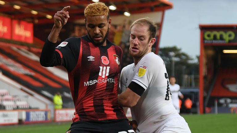 Bournemouth's Josh King looks to win the ball against Derby